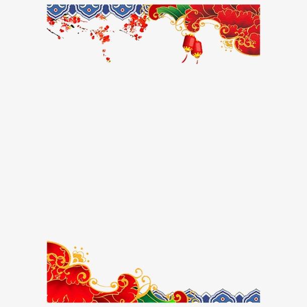 中国风新年红色背景边框