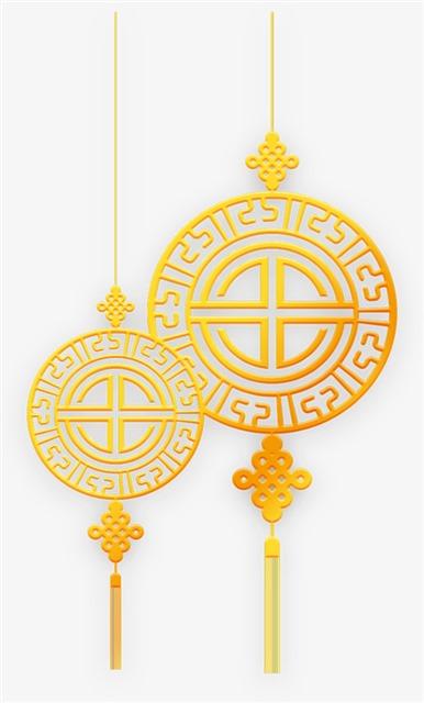 中国结金色花纹