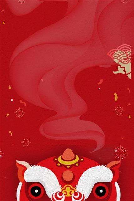 中国风元旦舞狮背景