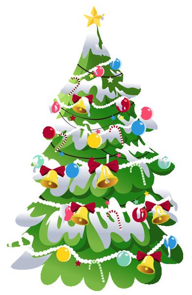 白雪覆盖卡通圣诞树
