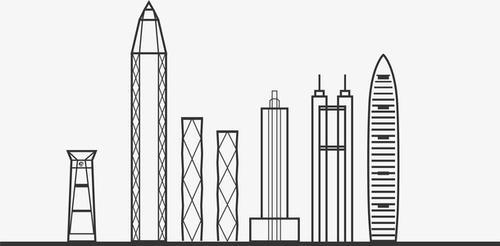 手绘深圳地标建筑图片