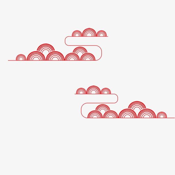 红色祥云装饰图案