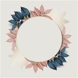 彩绘叶子圆形边框背景