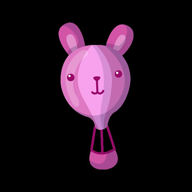 卡通兔子热气球