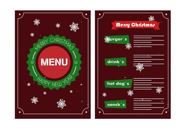 圣诞节餐厅菜单模板
