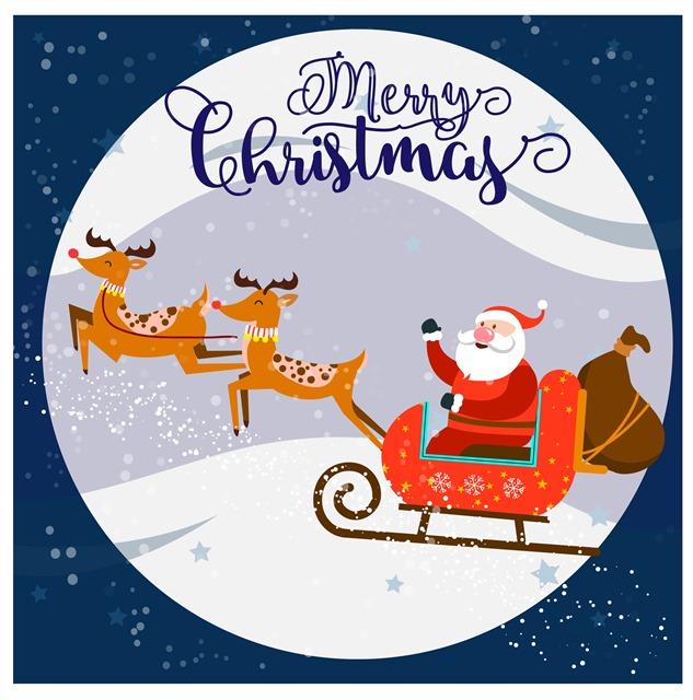 圣诞老人雪橇驯鹿矢量图