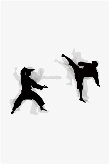 中国武术剪影矢量图