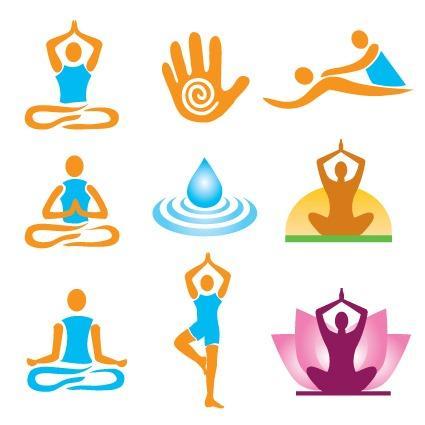 瑜伽动作矢量图标