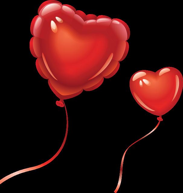 红色矢量爱心气球