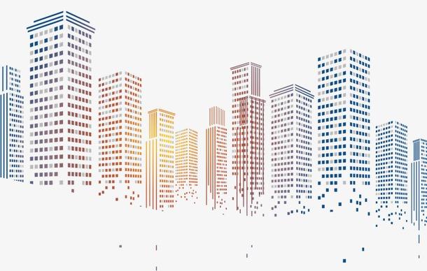 城市高楼大厦渐变剪影
