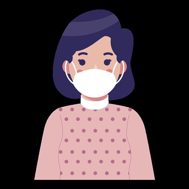 创意戴口罩的女子插画