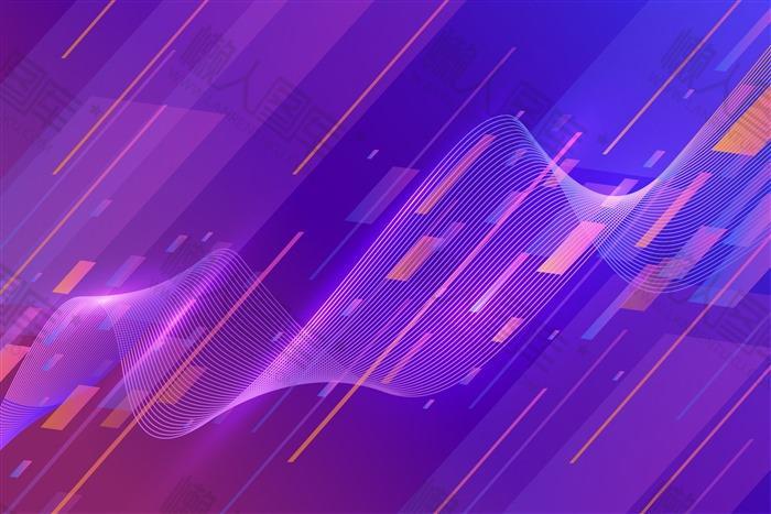 紫色扁平风电商背景图