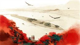 手绘水彩古风背景