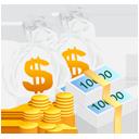 扁平风金币钞票矢量图