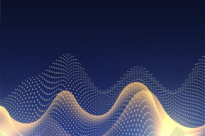 科技风粒子波浪背景图
