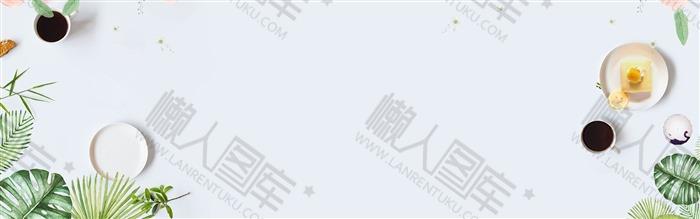 清新棕榈装饰边框背景