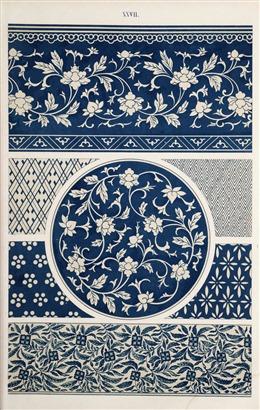 蓝色中国风花纹背景