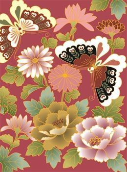 牡丹花蝴蝶背景墙