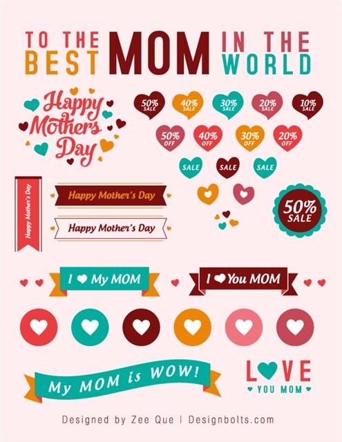 母亲节爱心丝带横幅标签