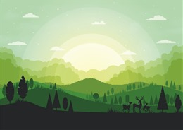 绿色扁平风森林插画