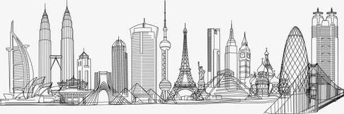 地标建筑线描图片