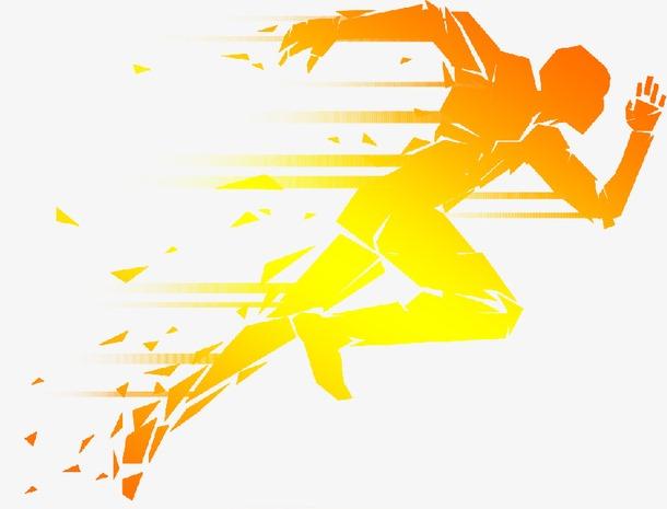 金色冲刺奔跑的人