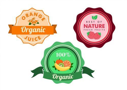 水果维生素徽章标签