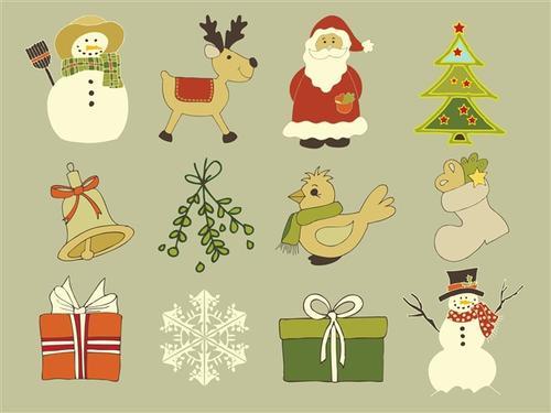 圣诞节手绘卡通图标