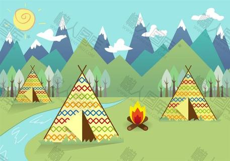 扁平风郊外野营插画