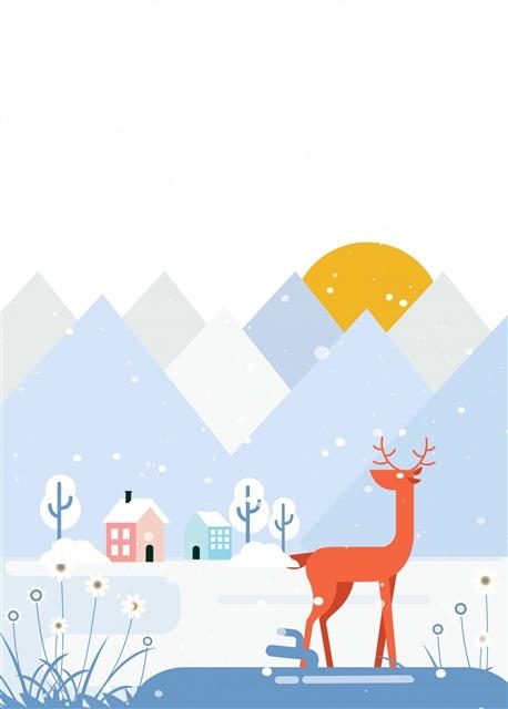 小鹿冬天背景元素图