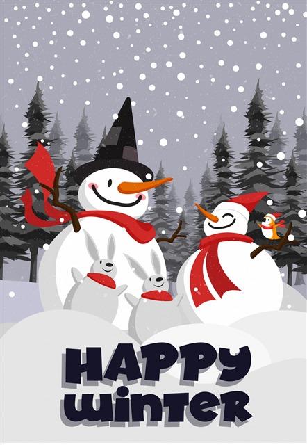 创意圣诞雪人主题插画