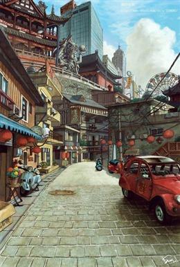 动漫街道图片