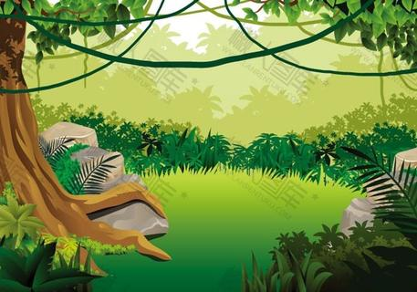 童话风草地树木背景图