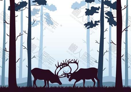 童话风梅花鹿森林背景
