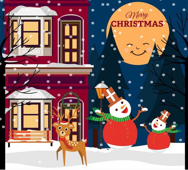 圣诞节雪人插画配图