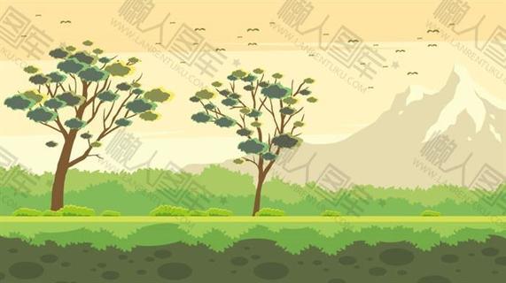 秋天草地山峰风景图