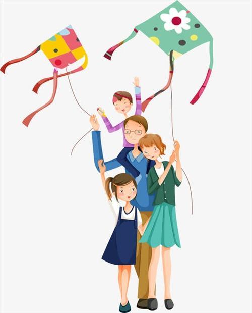 卡通一家人放风筝