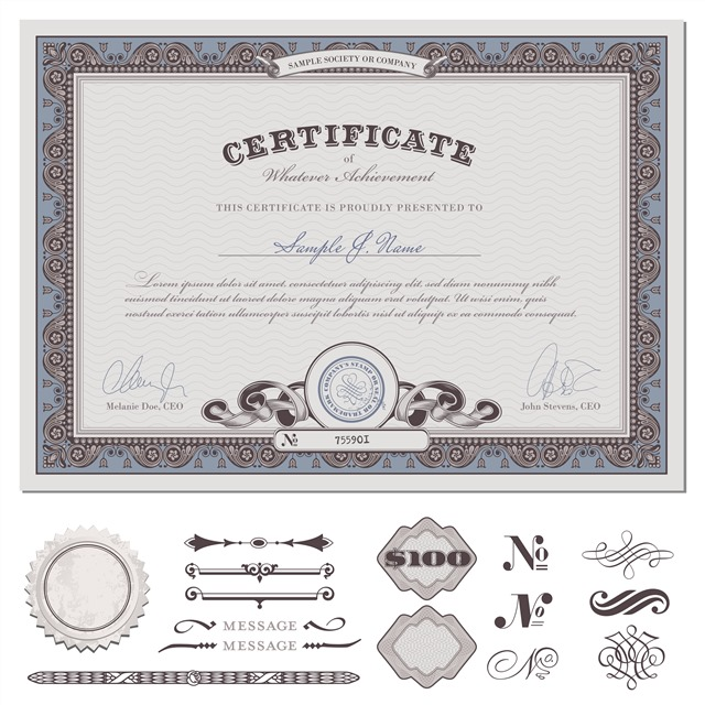 欧式花纹荣誉证书