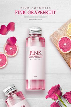 粉色系时尚美妆护肤品宣传海报