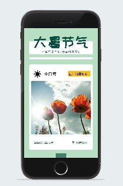 绿色清新风格大暑节气广告平面手机海报