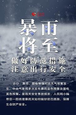 暴雨天出行安全防护指南宣传海报