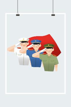 军人致敬红旗插画图案