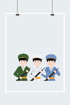 卡通建军节军人形象图案