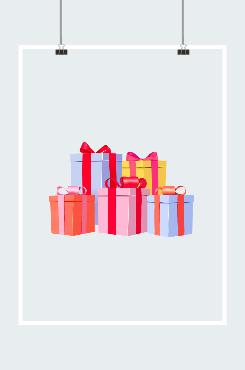 礼盒堆积创意插画图案