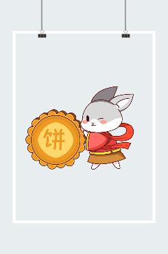 创意中秋节玉兔插画图案