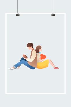 简约情侣背靠背图案