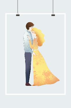 浪漫情侣创意插画图案