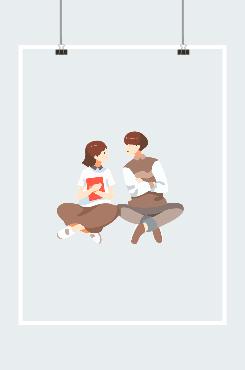 卡通浪漫学生情侣图案