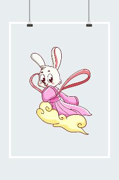 卡通玉兔飞天图案