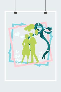 现代情侣剪影插画图案